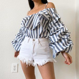 NWOT Striped Ruffle Cold Shoulder Top